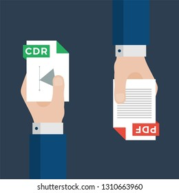 Two Businessmen Hands Exchange Different Types of Files. CDR Convert to PDF. File Format Conversion. Flat Icons. Vector Illustration