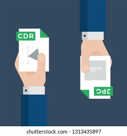 Two Businessmen Hands Exchange Different Types of Files. CDR Convert to JPG. File Format Conversion. Flat Icons. Vector Illustration