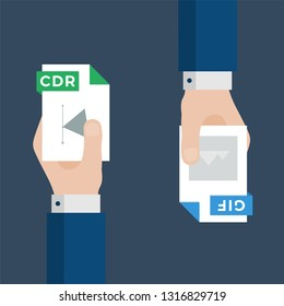 Two Businessmen Hands Exchange Different Types of Files. CDR Convert to GIF. File Format Conversion. Flat Icons. Vector Illustration
