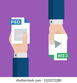 Two Businessmen Hands Exchange Different Types of Files. PSD Convert to CDR. File Format Conversion. Flat Icons. Vector Illustration