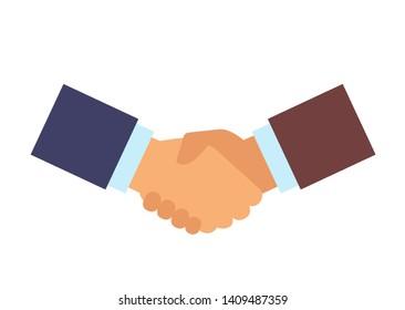 Two businessmen hands handshaking. Successful business deal concept. Vector flat cartoon graphic design illustration
