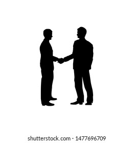 Two businessmen handshake. Men silhouette business colaboration symbol. Agreement concept