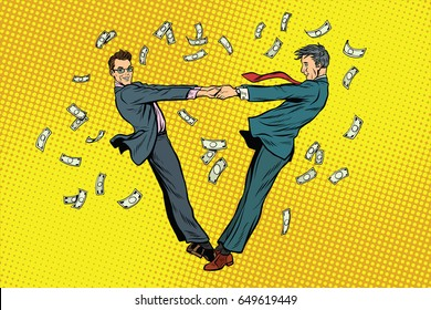 Two businessmen happily dancing in a whirlwind of money. Pop art retro vector illustration
