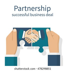 Two businessmen holding puzzle elements with a handshake. Partnership concept. Background for business and finance. Symbol of a successful transaction. Vector illustration flat style design.