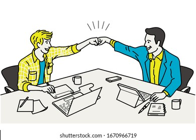 Two businessmen make a fist bump at working table, in concept of celebrating, winning, or excited. Outline, linear, thin line art, hand drawn sketch design, simple style.