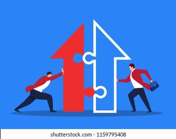 Two businessmen merging arrows together