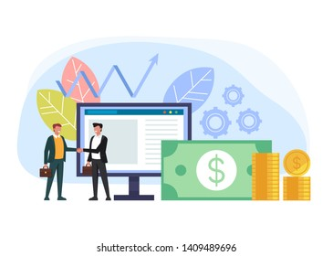 Two businessmen office workers characters shaking hands. Online business deal agreement concept. Vector flat graphic design cartoon illustration