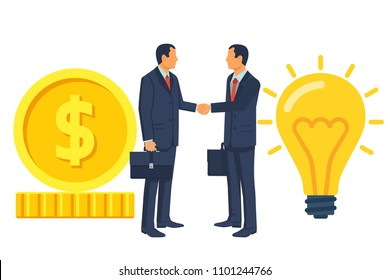 Two businessmen on the deal shake hands, exchange money for an idea. Investment creative projects. Buy idea. Vector illustration flat design. Isolated on white background.