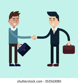 Two Businessmen on the Negotiations. Done Deal. Flat style in vector