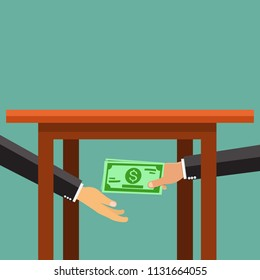 Two businessmen passing money under the table.Vector illustration.