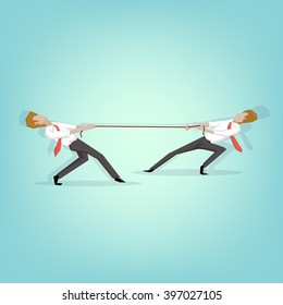 Two businessmen are pulling rope, business competitive concept. (Cartoon Vector Illustration.)