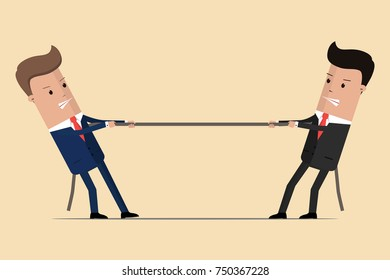 Two businessmen are pulling rope, business competitive concept. Symbol of competition in business. Vector Illustration