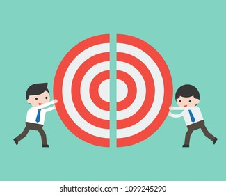 Two businessmen pushing a pieces of big target together, flat design