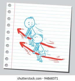 Two businessmen riding arrows