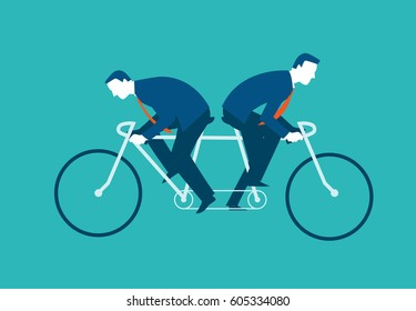 Two businessmen riding the same bike but in opposite directions. Vector illustration business concept