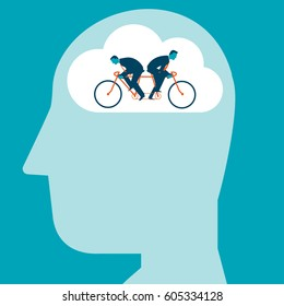 Two Businessmen riding the same bike in opposite directions inside of a brain. Vector illustration creativity concept