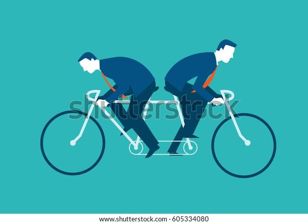 Zwei Geschäftsleute fahren auf dem gleichen Fahrrad, aber in entgegengesetzte Richtungen. Geschäftskonzept für Vektorgrafik