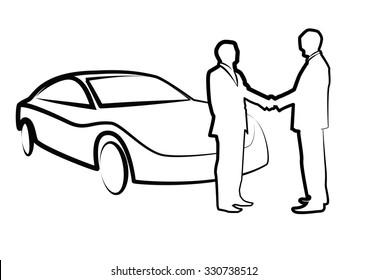 two businessmen shaking hands in front of car - illustration , vector