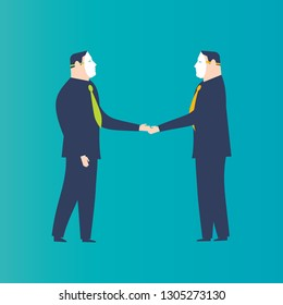 Two businessmen shaking hands with masks. Business concepts. -Vector Illustration-