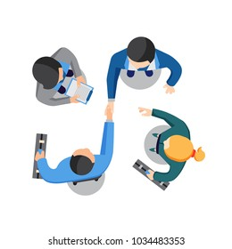 Two businessmen shaking hands from overhead as they reach an agreement watched by two colleagues or personal assistants on the sides. Top aerial view, cartoon vector illustration on white