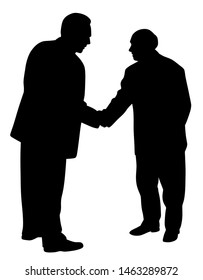 Two businessmen shaking hands silhouette illustration