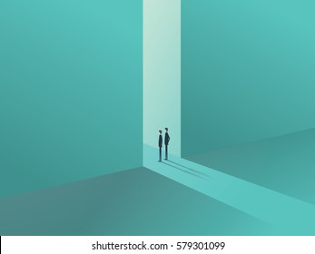 Two businessmen standing in a gate as a symbol of business opportunities, challenge, vision and future. Eps10 vector illustration.