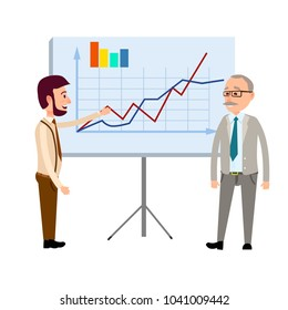 Two businessmen standing near blackboard with graphs, curves and diagram infographics flat vector on white background. Financial forecast, business masterclass or economics presentation concept