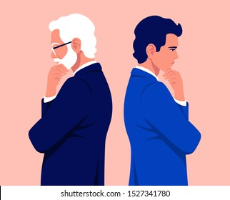 Two businessmen are standing in profile. A guy in a business suit is thinks. An old man with gray hair is make a decision. Problems. Vector flat illustration