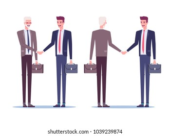 Two businessmen standing and shaking hands as a sign of cooperation, partnership or agreement. Boss and employee handshake front and rear view vector flat illustration.