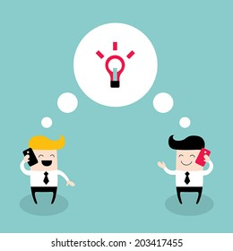 Two businessmen talking by the phone. Colleagues, collaboration, business success theme. Vector illustration