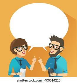 Two businessmen talking. Coworkers discussing. Smart man and woman giving advice. Vector colorful illustration in flat style