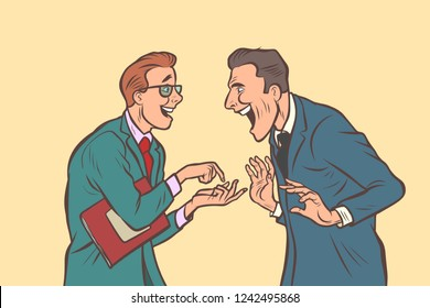 two businessmen talking and laughing. Friends joke. Comic cartoon pop art retro vector illustration drawing