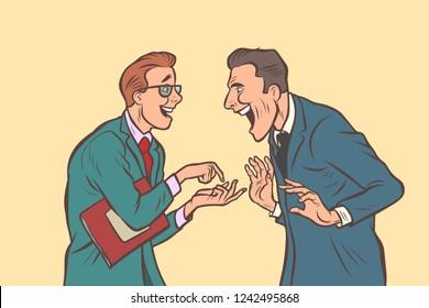 two businessmen talking and laughing. Friends joke. Comic cartoon pop art retro vector illustration drawing