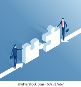 Two businessmen are trying to connect two elements of the puzzle isometric vector illustration. Isometric business people collect puzzle. Business concept teamwork and cooperation