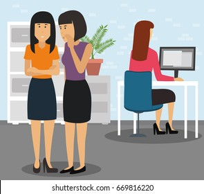 Two businesspeople bullying a colleague that is sitting in her workplace at office. Businesswoman being gossiped about by colleagues in office concept illustration vector.