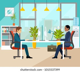 Two businesspeople in office. Vector flat style illustration