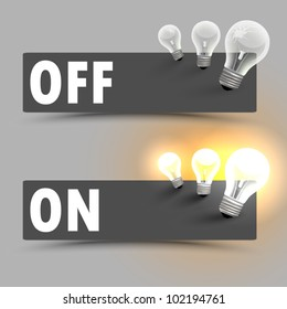 Two buttons with bulbs - on , off