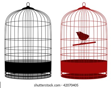 two cages one with bird in vector mode