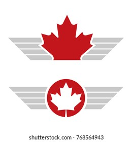 Two Canadian maple leaf designs featuring graphic wings in vector format.