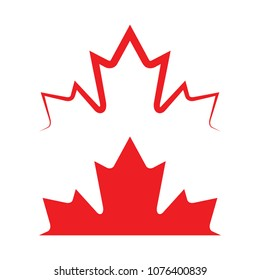 Two Canadian maple leaves in vector format. One version is solid and the top version is made out of a sharp outline.