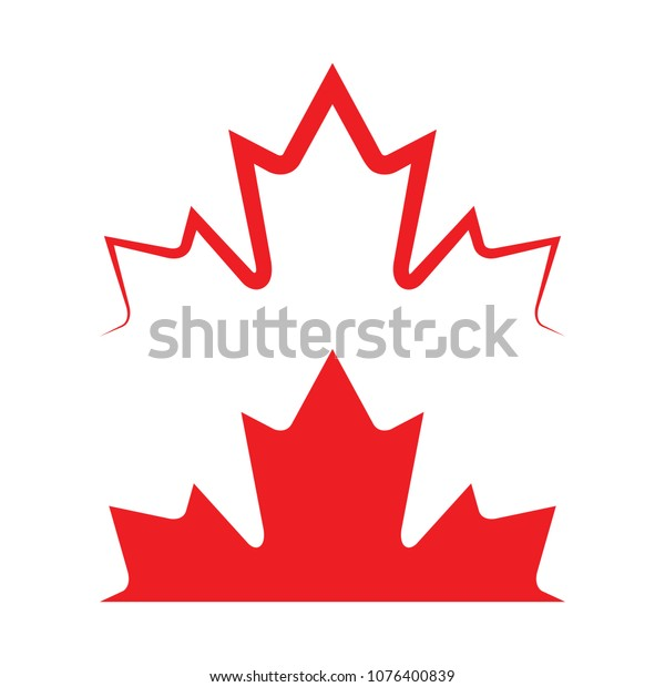 Two Canadian Maple Leaves Vector Format Stock Vector