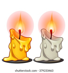 Two candles burn and melt. Vector.