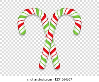 Two candy canes on transparent background, vector eps10 illustration