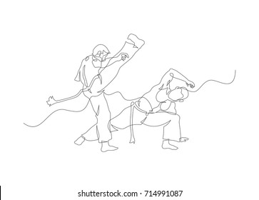 Two capoeira fighters contour Isolated on white. vector illustration
