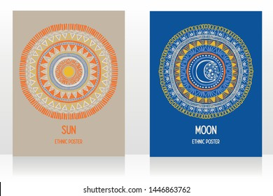 Two cards with gypsy style with sun and moon symbols, day and night, sketch style vector illustration