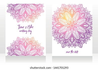 two cards for indian style wedding with shining mandala ornament, vector illustration