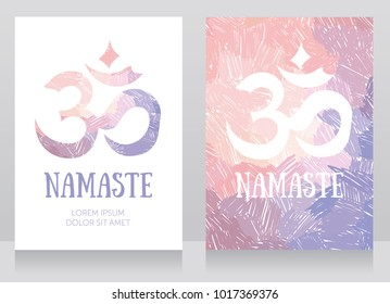 two cards with om symbol on artistic background, can be used as banners for yoga studio, pastel patette, vector illustration