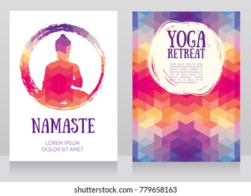 two cards for yoga retreat or yoga studio with Buddha silhouette, vector illustration
