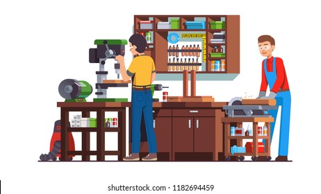 Two carpenters workers men doing woodwork in workshop with table wood drilling machine, grinding wheel, work bench, circular saw, drill, cabinets, tools & equipment. Flat vector interior illustration