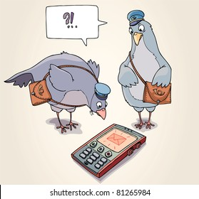 Two carrier pigeons are wonder to receive the SMS message.